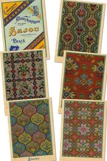 Six Sajou postcards vintage tapestry petit point Series 103