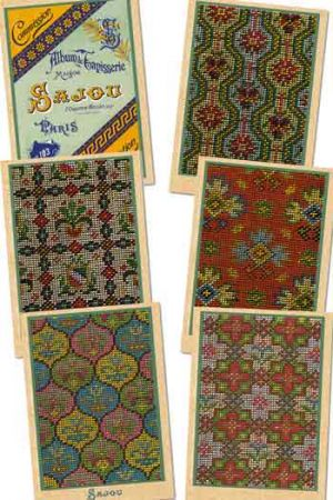 Six Sajou postcards vintage tapestry petit point Series 103