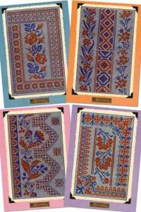 Four postcards cross stitch russian motifs Large format