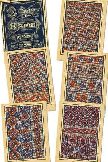 Six Sajou postcards Vintage cross stitch - Blue series n° 1
