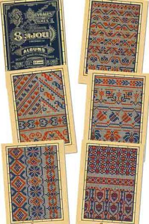 Six Sajou postcards Vintage cross stitch - Blue series n° 1
