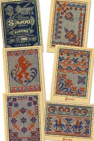 Six Sajou postcards Vintage cross stitch - Blue series n° 2