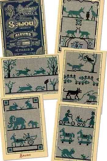 Six Sajou postcards Vintage cross stitch - Blue series n° 3