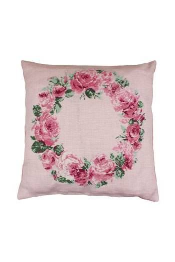 Front of Sajou crown of roses cushion format 36.5 x 36.5cm