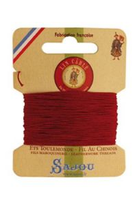 Fil Au Chinois waxed cable linen size 432 10m card - Colour 128 Red