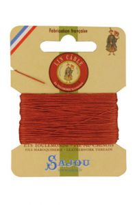 Fil Au Chinois waxed cable linen size 432 10m card - Colour 420 Pumkin