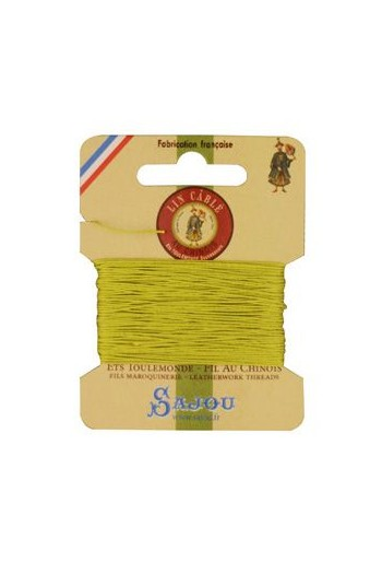 Fil Au Chinois waxed cable linen size 432 10m card - Colour 519 Mojito