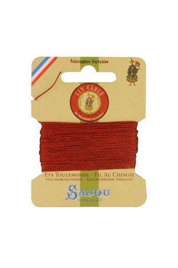 Fil Au Chinois waxed cable linen size 332 10m card - Colour 333 Copper