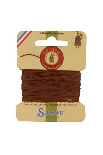 Fil Au Chinois waxed cable linen size 332 10m card - Colour 374 Bronze