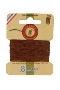 Waxed cable linen size 332 10m card - Colour 374 - Bronze
