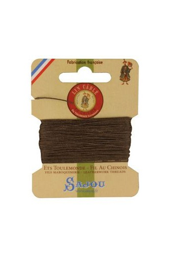 Fil Au Chinois waxed cable linen size 332 10m card - Colour 518 Mole