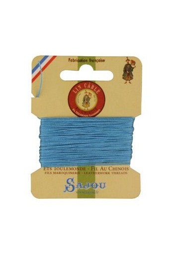 Fil Au Chinois waxed cable linen size 332 10m card - Colour 677 Turquoise