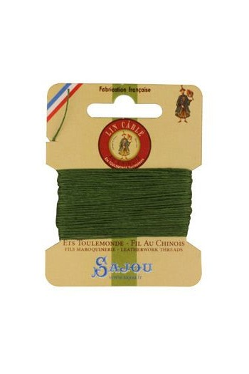 Fil Au Chinois waxed cable linen size 632 10m card - Colour 735 - Chartreuse