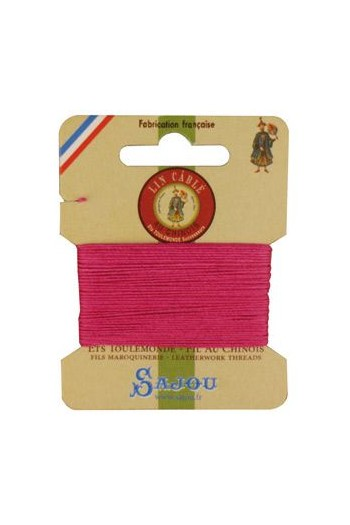 Fil Au Chinois waxed cable linen size 832 10m card - Colour 125 - Peony
