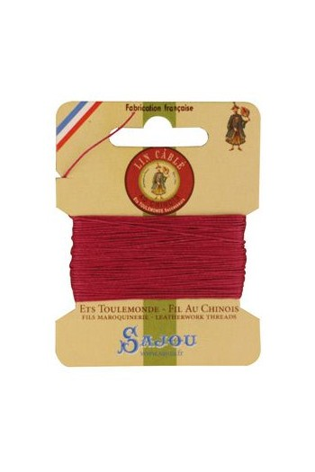 Fil Au Chinois waxed cable linen size 832 10m card - Colour 190 - Rosewood