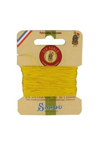 Fil Au Chinois waxed cable linen size 832 10m card - Colour 259 - Sunshine