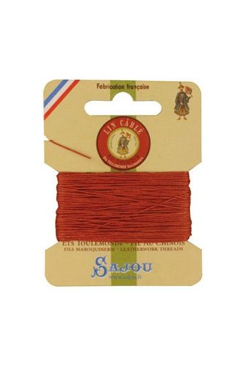 Fil Au Chinois waxed cable linen size 832 10m card - Colour 420 - Pumpkin