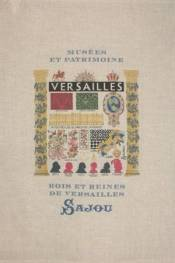 Natural linen tea towel printed with Versailles pattern
