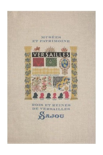 Sajou natural linen tea towel with our Versailles pattern chart