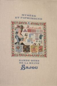 Sajou natural linen tea towel with our Marie-Antoinette pattern chart