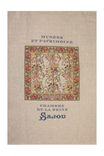Sajou natural linen tea towel with our Queen's Bedchamber pattern chart