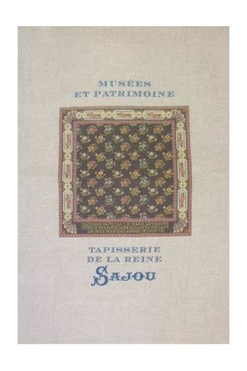 Sajou natural linen tea towel with our Queen and Mme Élisabeth pattern chart