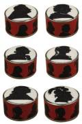 Sajou cross stitch kit Kings and Queens silhouette round box