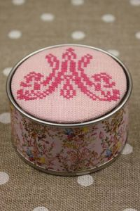 Sajou cross stitch kit Marie-Antoinette monogram motif round box