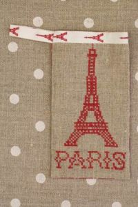 Cross stitch embroidery kit - Eiffel tower case red