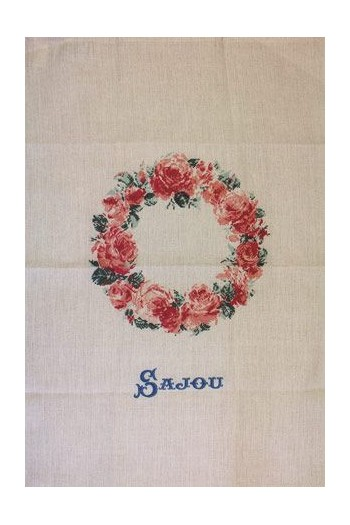 Sajou tea towel in natural lined with rose crown print