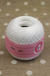 Knitting and crochet yarn size 20/3 colour white