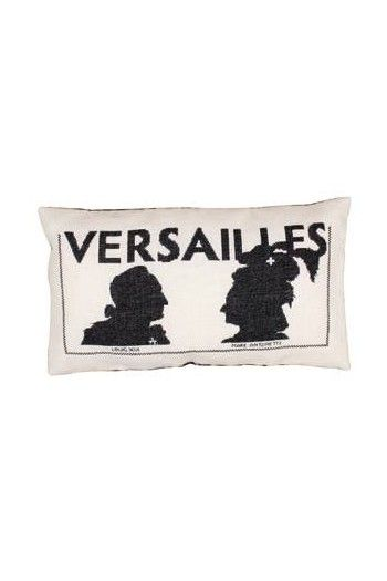 Sajou embroidered cushion: Louis XVI and his wife Marie-Antoinette