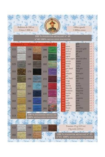 Fil Au Chinois metallized threads printed colour chart