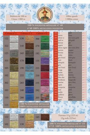 Metallized threads printed colour chart