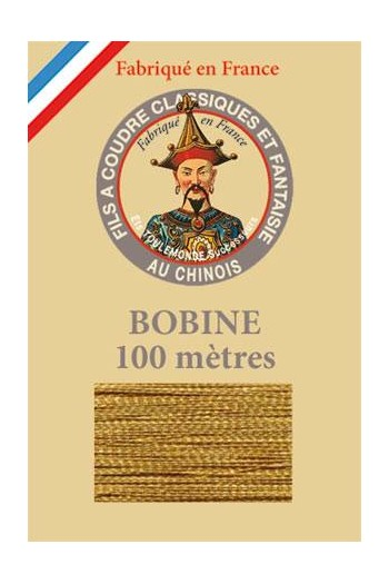 Fil Au Chinois polyester metallized sewing thread 100m spool Col. 113 Gilt