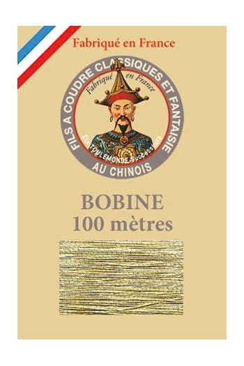Fil Au Chinois polyester metallized sewing thread 100m spool Col. 102 Gold