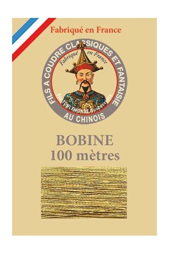 Fil Au Chinois polyester metallized sewing thread 100m spool Col. 110 - Old gold