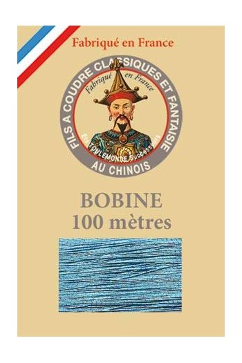 Fil Au Chinois polyester metallized sewing thread 100m spool Col. 222 - Ocean