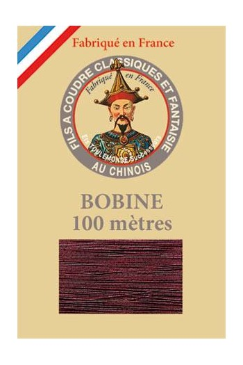 Fil Au Chinois polyester metallized sewing thread 100m spool Col. 255 - Burgundy