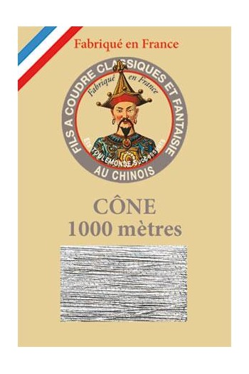 Fil Au Chinois polyester metallized sewing thread - 1000m cone n°122 Silver
