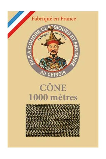 Fil Au Chinois polyester metallized sewing thread - 1000m cone n°105 Two-tone gold