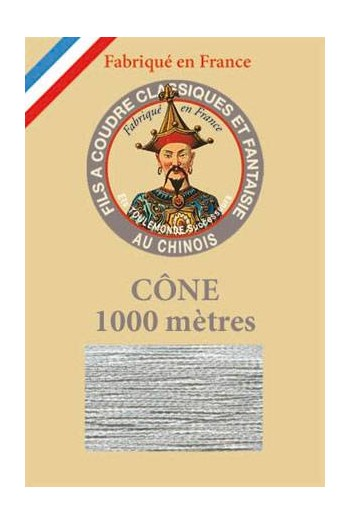 Fil Au Chinois polyester metallized sewing thread - 1000m cone n°322 Snowflake