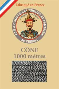 Fil Au Chinois polyester metallized sewing thread - 1000m cone n°125 - Two-tone silver