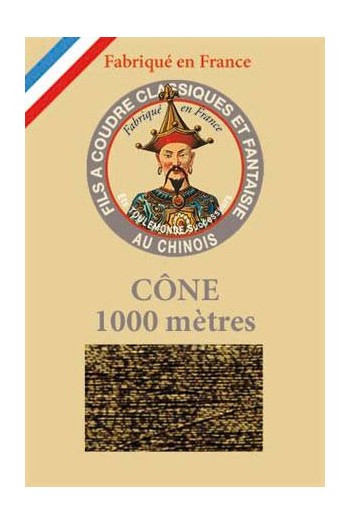 Fil Au Chinois polyester metallized sewing thread - 1000m cone n°355 - Tabby