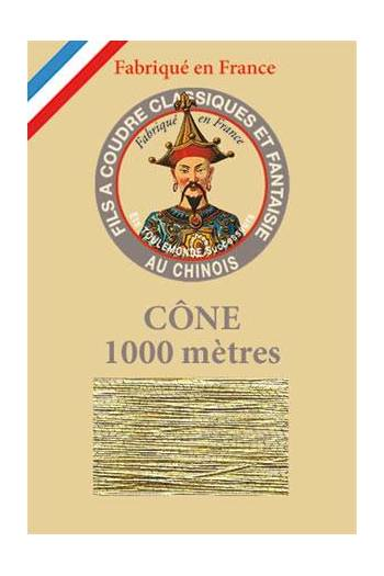 Fil Au Chinois polyester metallized sewing thread - 1000m cone n°102 - Gold