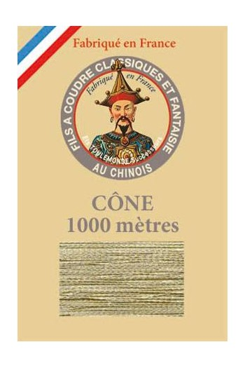 Fil Au Chinois polyester metallized sewing thread - 1000m cone n°302 - Glitter