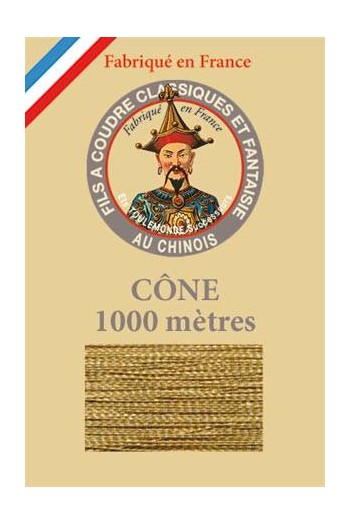 Fil Au Chinois polyester metallized sewing thread - 1000m cone n°103 - Brass