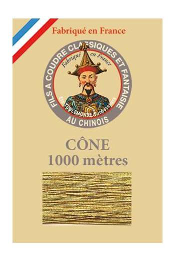 Fil Au Chinois polyester metallized sewing thread - 1000m cone n°110 - Old gold