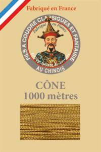 Fil Au Chinois polyester metallized sewing thread - 1000m cone n°113 - Gilt