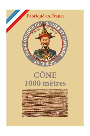 Fil Au Chinois polyester metallized sewing thread - 1000m cone n°130 - Copper